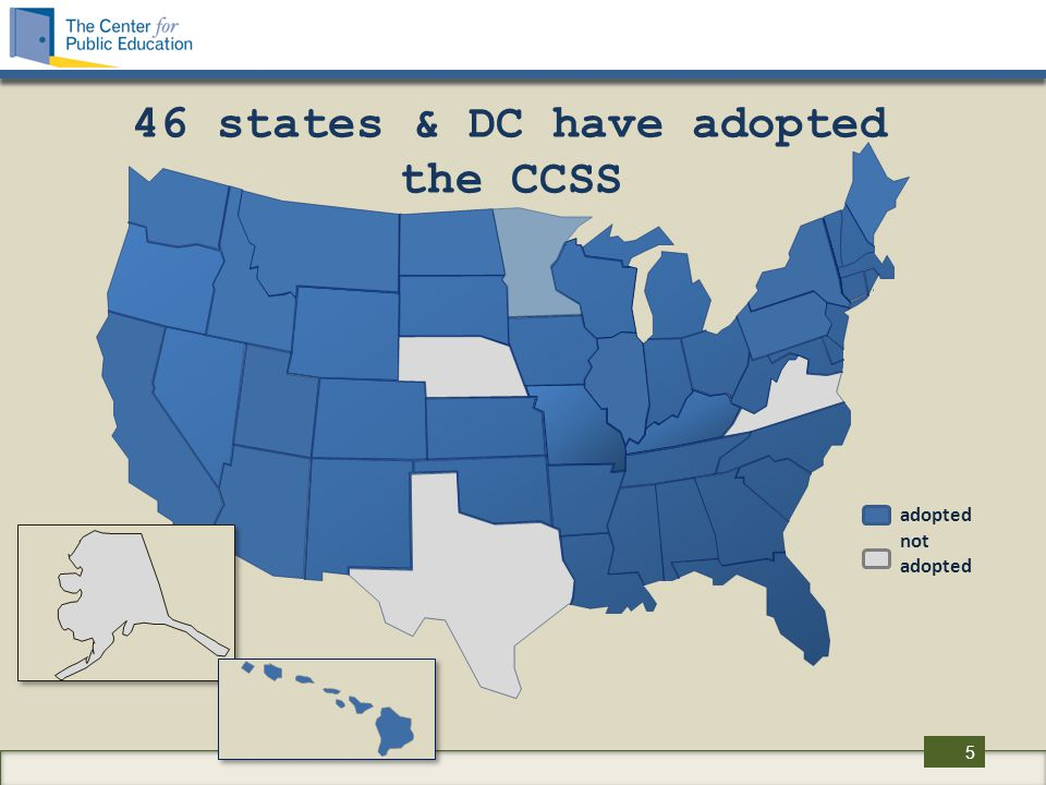NSBA & CCSS supports NGA/CCSSO state-led process supports federal funding for research and/or help to states for developing assessments supports nationally available tests that states may adopt voluntarily opposes federal mandates or coercion, eg.
