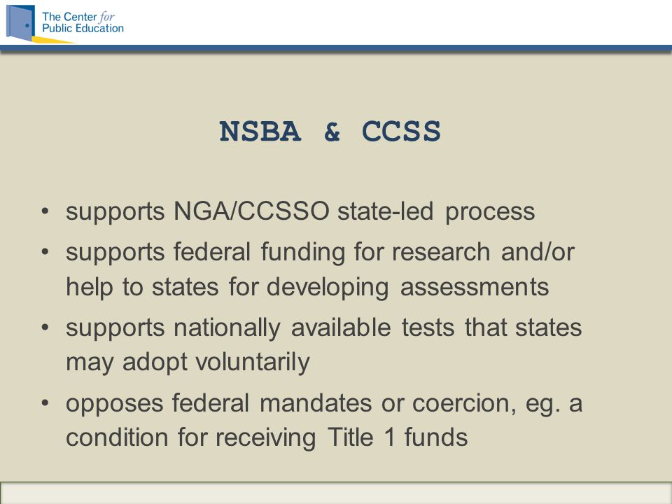 The Common Core State Standards The challenges