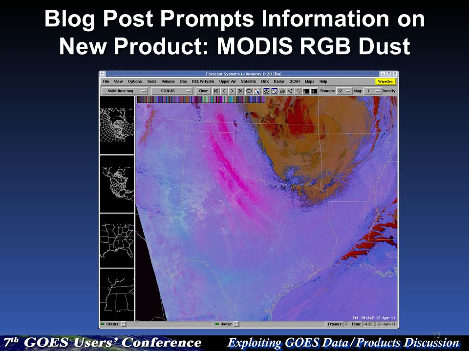 Blog Post Prompts Information on New Product: MODIS RGB Dust 13
