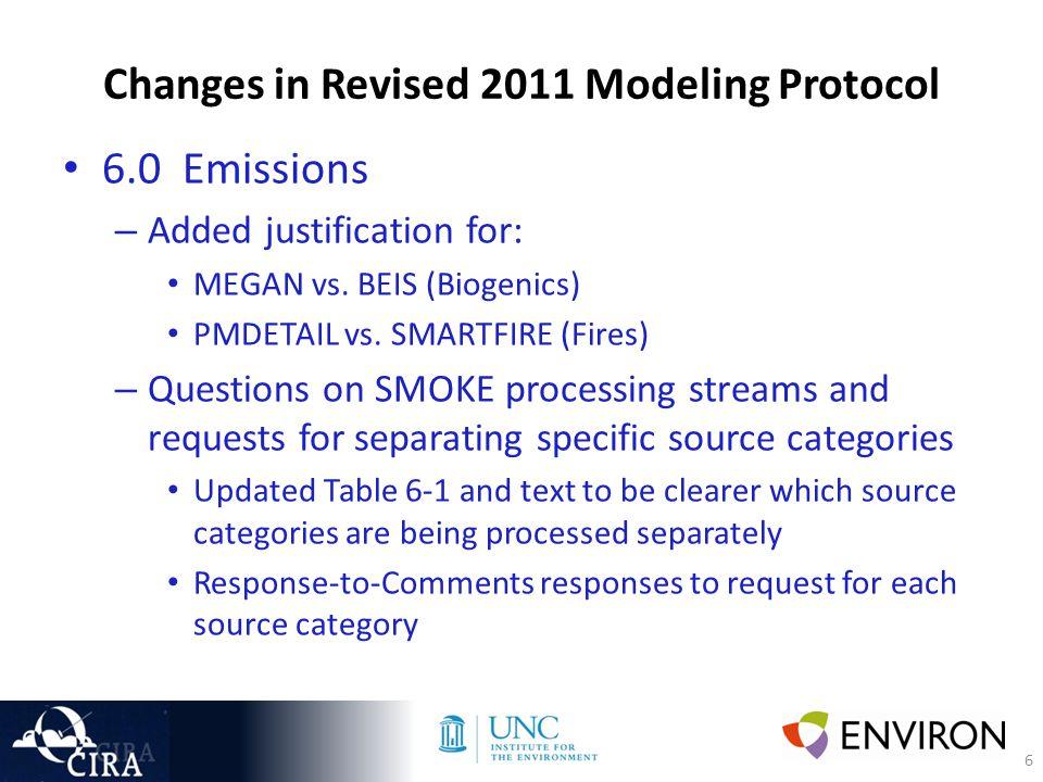 6 Changes in Revised 2011 Modeling Protocol 6.0 Emissions – Added justification for: MEGAN vs.