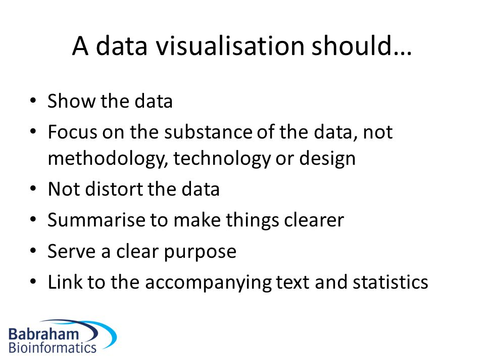 A data visualisation should… Show the data Focus on the substance of the data, not methodology, technology or design Not distort the data Summarise to
