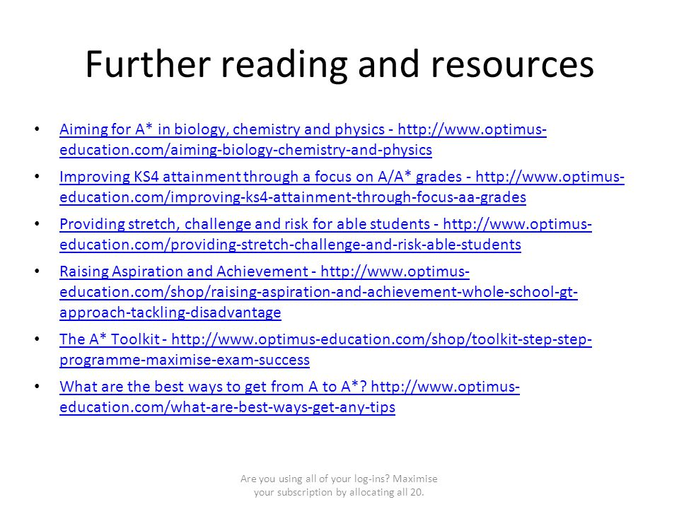Further reading and resources Aiming for A* in biology, chemistry and physics - http://www.optimus- education.com/aiming-biology-chemistry-and-physics