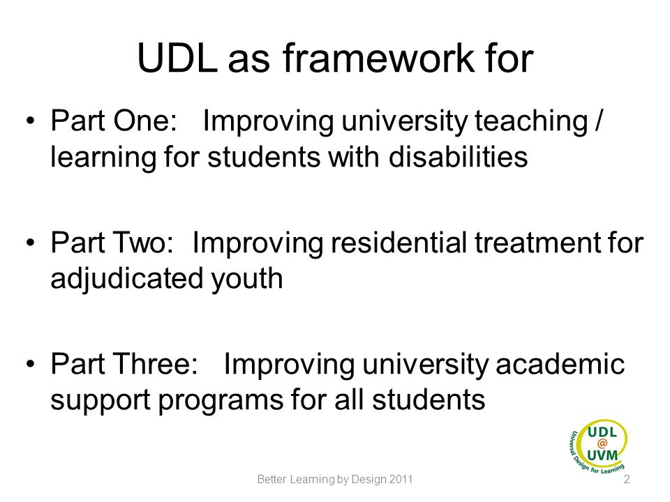 Part Two Woodside Juvenile Rehabilitation Center Putting UDL to Work Judith Christensen 13Better Learning by Design 2011