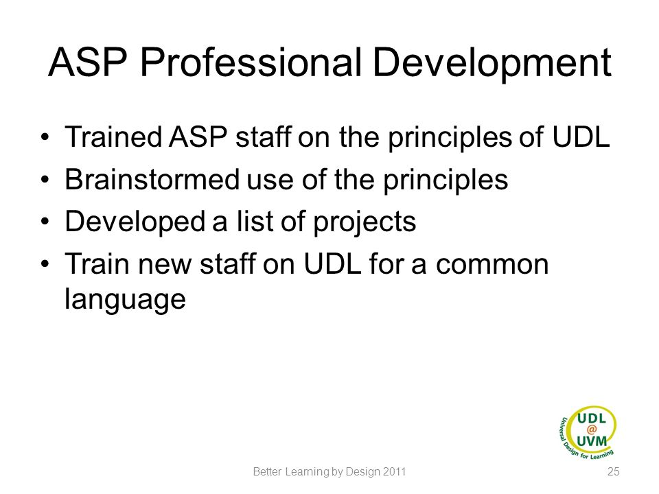 ASP Professional Development Trained ASP staff on the principles of UDL Brainstormed use of the principles Developed a list of projects Train new staf