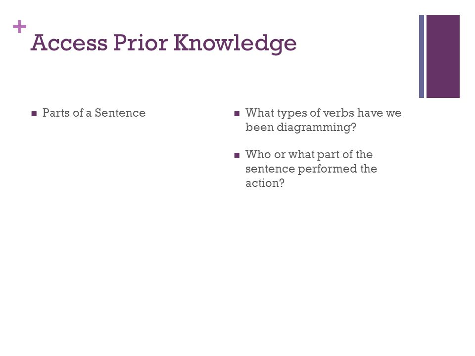 + Access Prior Knowledge Parts of a Sentence What types of verbs have we been diagramming? Who or what part of the sentence performed the action?
