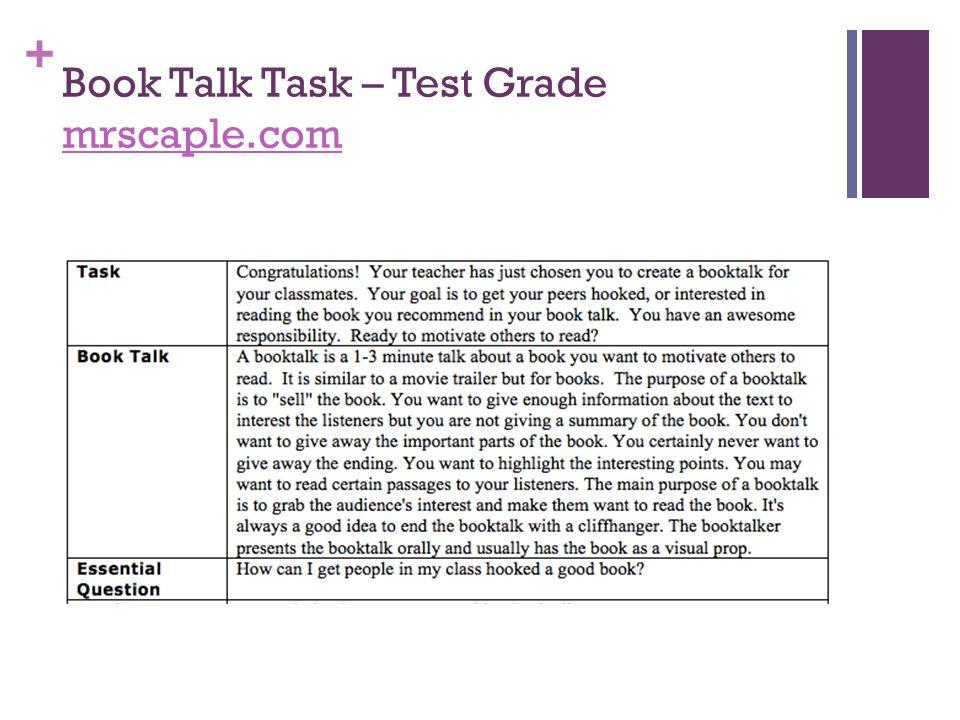 + Book Talk Task – Test Grade mrscaple.com mrscaple.com