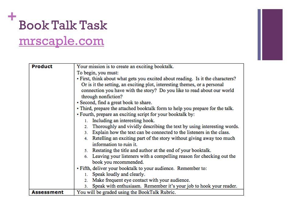 + Book Talk Task mrscaple.com mrscaple.com