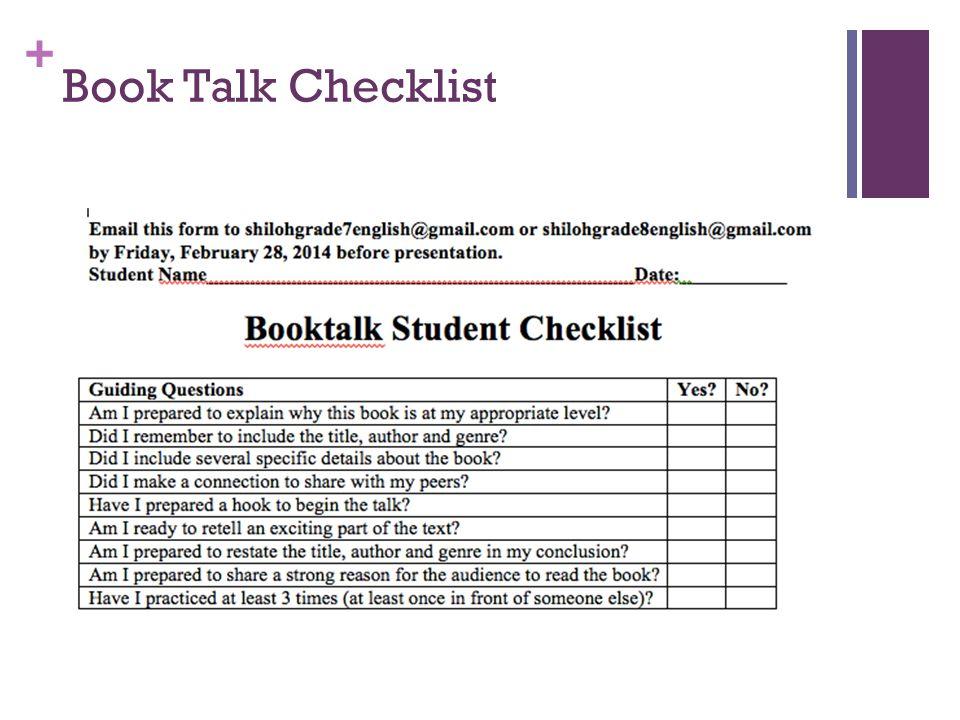 + Book Talk Checklist