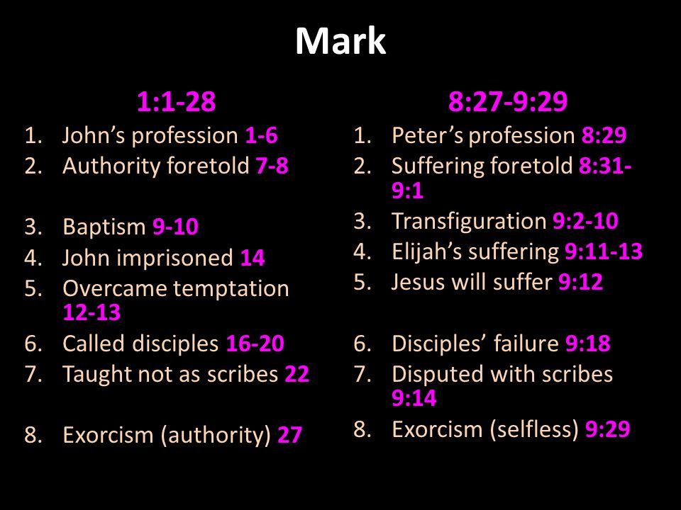 Mark 1:1-28 1.John's profession 1-6 2.Authority foretold 7-8 3.Baptism 9-10 4.John imprisoned 14 5.Overcame temptation 12-13 6.Called disciples 16-20 7.Taught not as scribes 22 8.Exorcism (authority) 27 8:27-9:29 1.Peter's profession 8:29 2.Suffering foretold 8:31- 9:1 3.Transfiguration 9:2-10 4.Elijah's suffering 9:11-13 5.Jesus will suffer 9:12 6.Disciples' failure 9:18 7.Disputed with scribes 9:14 8.Exorcism (selfless) 9:29