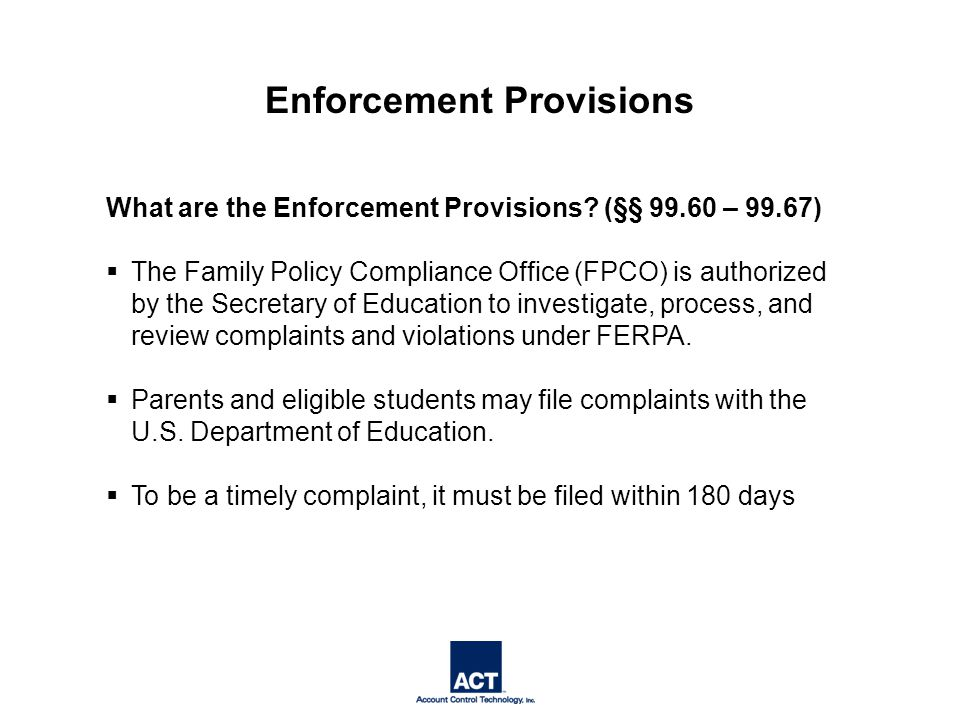 What are the Enforcement Provisions.