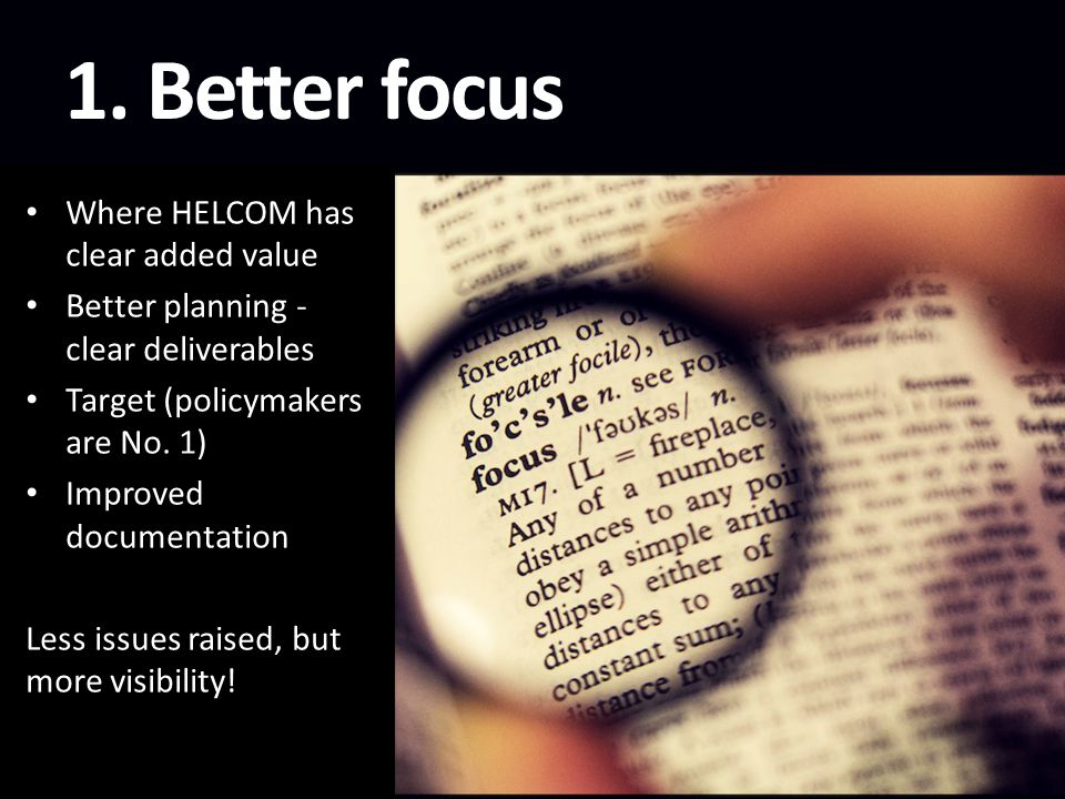 1. Better focus Where HELCOM has clear added value Better planning - clear deliverables Target (policymakers are No. 1) Improved documentation Less is