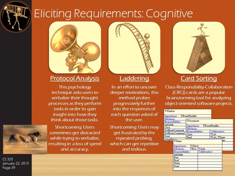 Eliciting Requirements: Model-Driven CS 325 January 22, 2015 Page 38 Goal-Based Modeling By tying each software requirement to a specific objective th