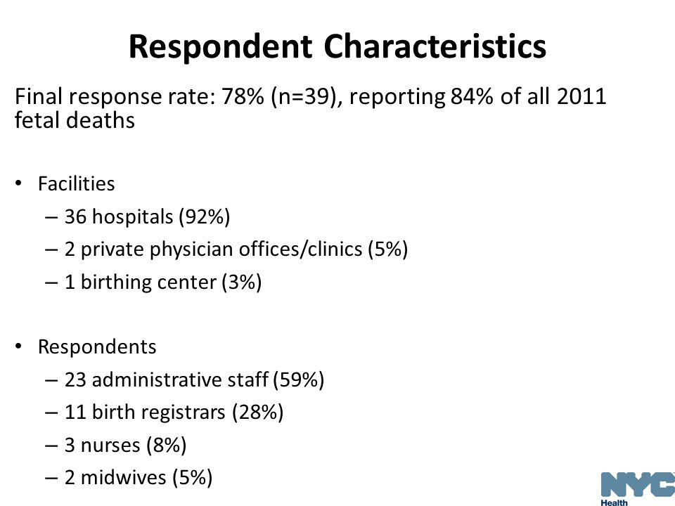 Respondent Characteristics Final response rate: 78% (n=39), reporting 84% of all 2011 fetal deaths Facilities – 36 hospitals (92%) – 2 private physici