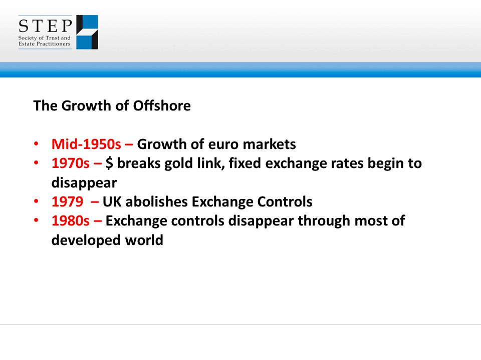 The Growth of Offshore Mid-1950s – Growth of euro markets 1970s – $ breaks gold link, fixed exchange rates begin to disappear 1979 – UK abolishes Exch