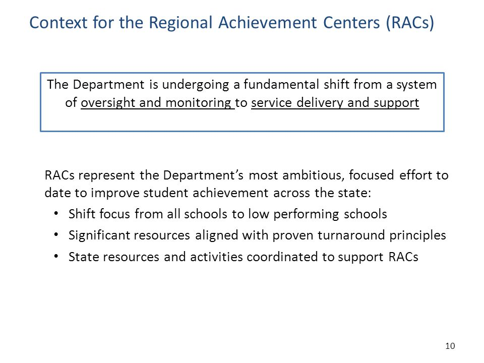 Context for the Regional Achievement Centers (RACs) RACs represent the Department's most ambitious, focused effort to date to improve student achievement across the state: Shift focus from all schools to low performing schools Significant resources aligned with proven turnaround principles State resources and activities coordinated to support RACs 10 The Department is undergoing a fundamental shift from a system of oversight and monitoring to service delivery and support