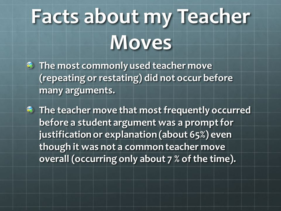 Facts about my Teacher Moves The most commonly used teacher move (repeating or restating) did not occur before many arguments.