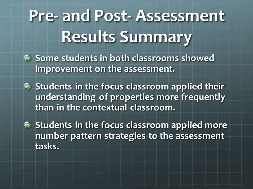 Pre- and Post- Assessment Results Summary Some students in both classrooms showed improvement on the assessment.