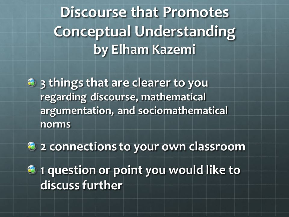 Kazemi's Main Points Teachers play a crucial role in going beyond computational procedures in the mathematics classroom.