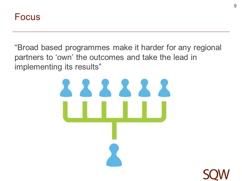 Focus Broad based programmes make it harder for any regional partners to 'own' the outcomes and take the lead in implementing its results 9