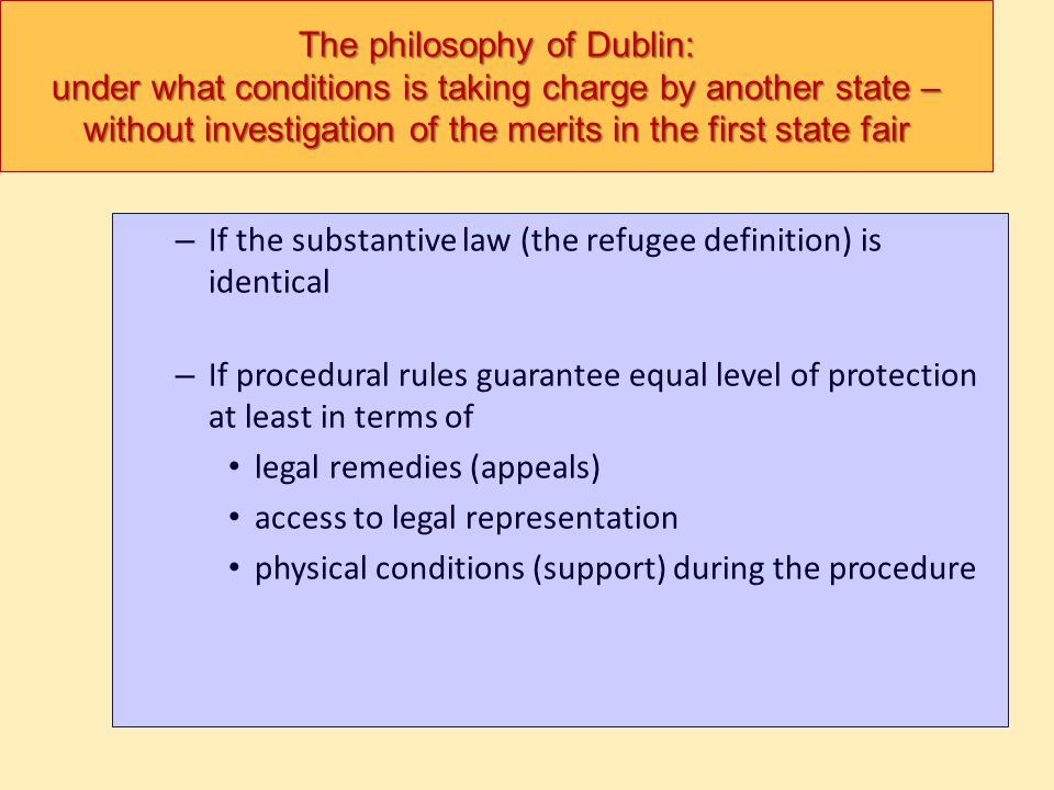 The philosophy of Dublin: under what conditions is taking charge by another state – without investigation of the merits in the first state fair – If t