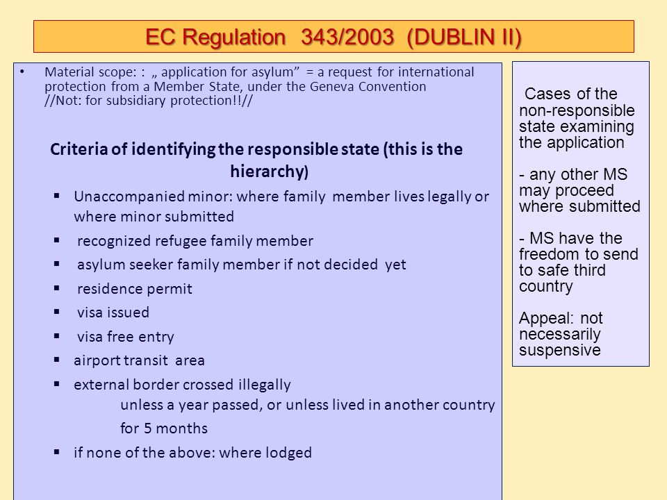 """EC Regulation 343/2003 (DUBLIN II) Material scope: : """" application for asylum"""" = a request for international protection from a Member State, under the"""