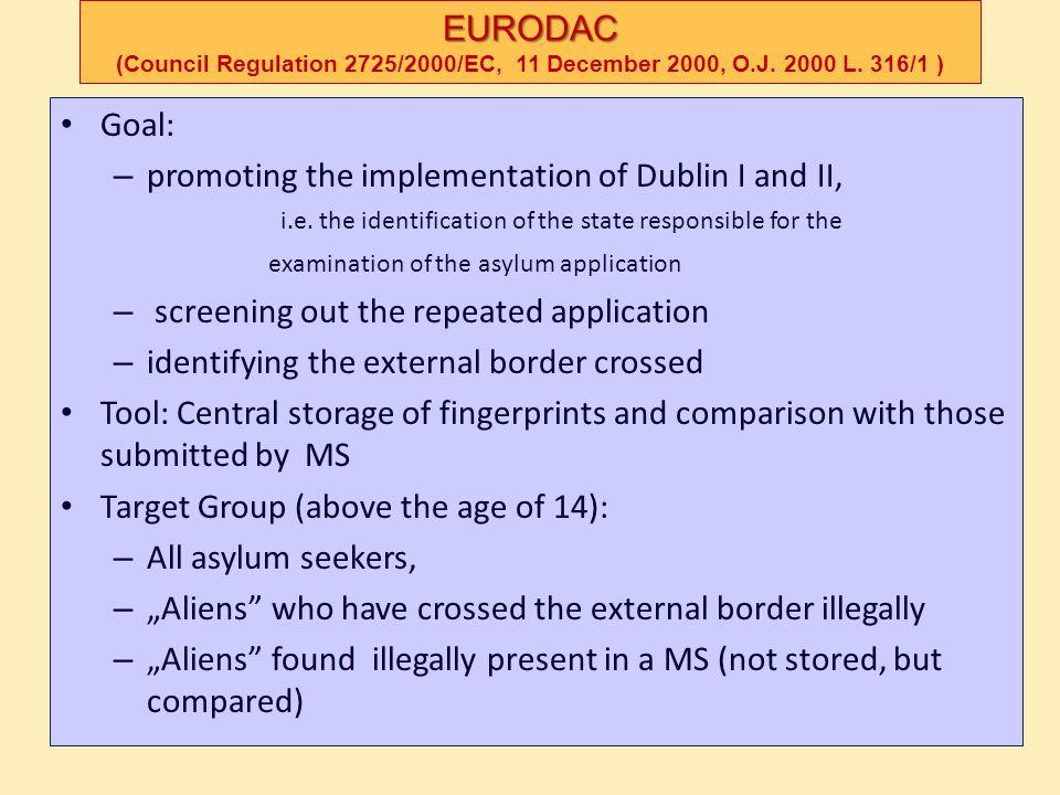 EURODAC EURODAC (Council Regulation 2725/2000/EC, 11 December 2000, O.J. 2000 L. 316/1 ) Goal: – promoting the implementation of Dublin I and II, i.e.