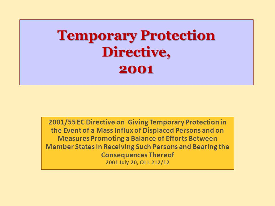 Temporary Protection Directive, 2001 2001/55 EC Directive on Giving Temporary Protection in the Event of a Mass Influx of Displaced Persons and on Mea