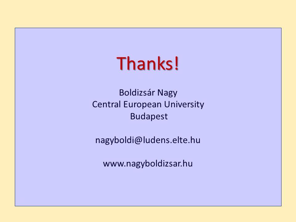 Thanks! Boldizsár Nagy Central European University Budapest nagyboldi@ludens.elte.hu www.nagyboldizsar.hu