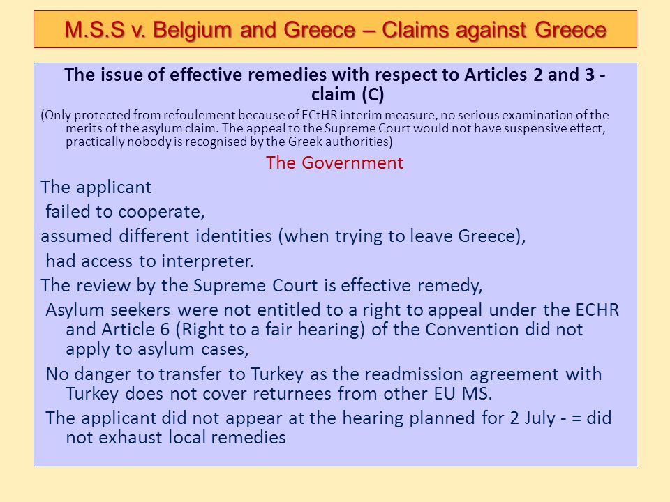 The issue of effective remedies with respect to Articles 2 and 3 - claim (C) (Only protected from refoulement because of ECtHR interim measure, no ser