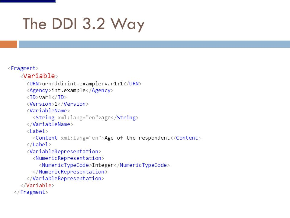 The DDI 3.2 Way urn:ddi:int.example:var1:1 int.example var1 1 age Age of the respondent Integer