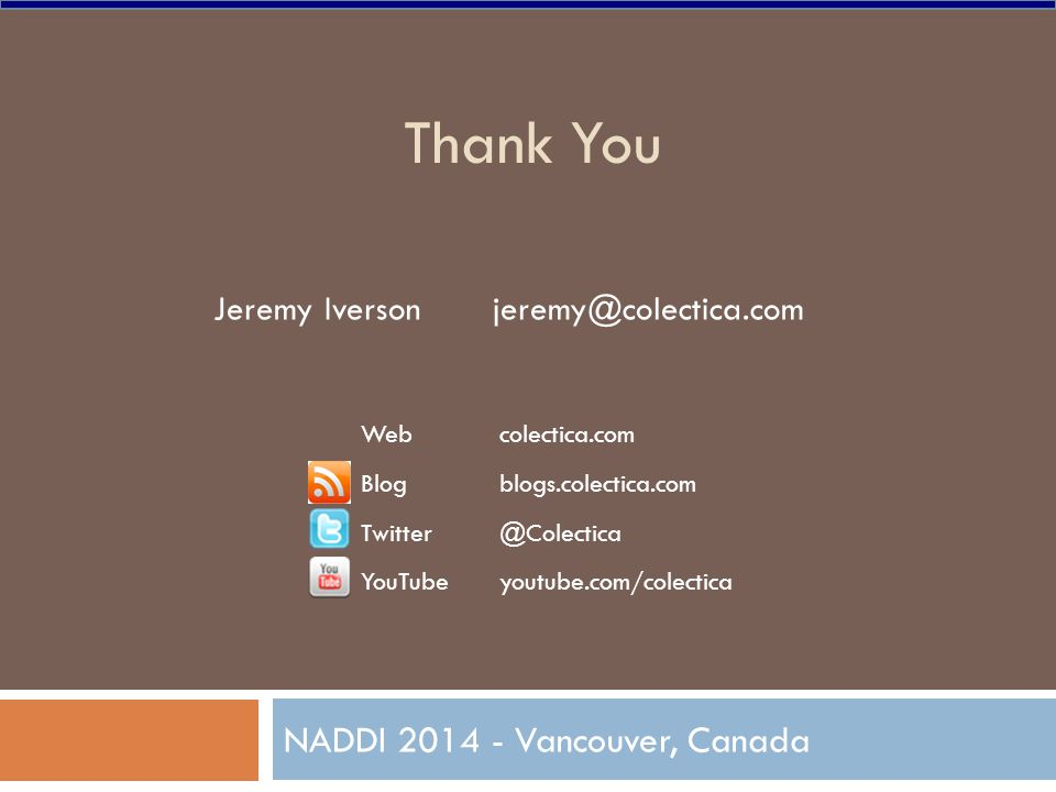 Thank You NADDI 2014 - Vancouver, Canada Webcolectica.com Blogblogs.colectica.com Twitter@Colectica YouTubeyoutube.com/colectica Jeremy Iverson jeremy@colectica.com