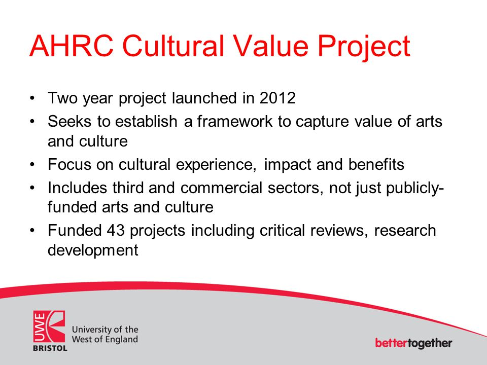 AHRC Cultural Value Project: selected examples The arts in dementia care – (Hannah Zeilig, University of the Arts, London) Ageing, Drama and Creativity – (Miriam Bernard, Keele University) Cultural value and social capital – (Stephen Clift, Canterbury Christ Church University) Bloomsbury Festival in a Box: engaging socially isolated people with dementia (Michael Eades, University of London) Project Blog: http://culturalvalueproject.wordpress.com/