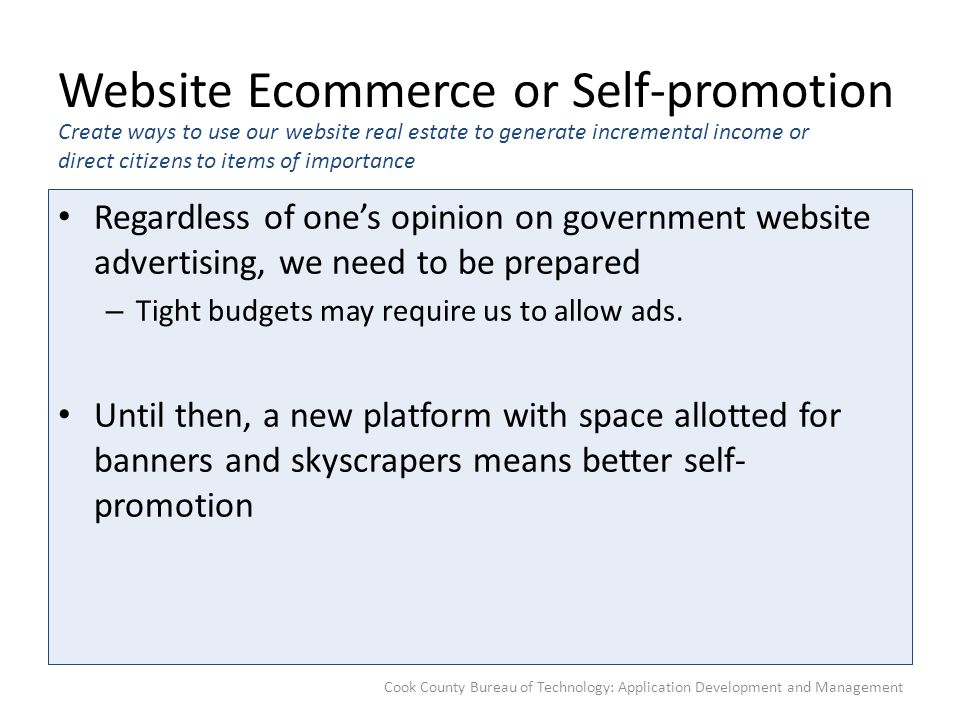 Website Ecommerce or Self-promotion Regardless of one's opinion on government website advertising, we need to be prepared – Tight budgets may require