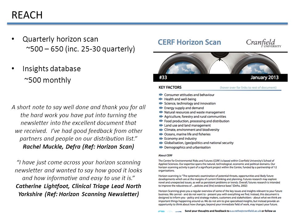 Quarterly horizon scan ~500 – 650 (inc.