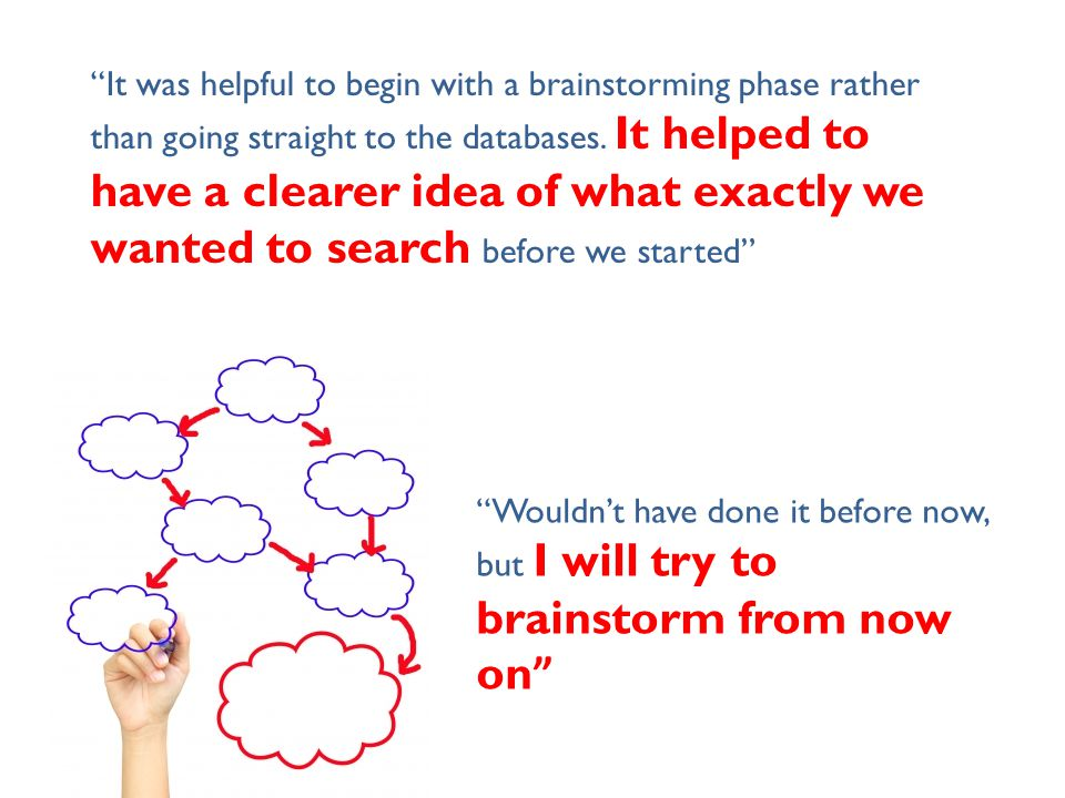"""""""It was helpful to begin with a brainstorming phase rather than going straight to the databases. It helped to have a clearer idea of what exactly we w"""