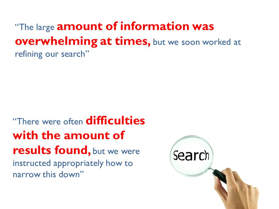 The large amount of information was overwhelming at times, but we soon worked at refining our search There were often difficulties with the amount of results found, but we were instructed appropriately how to narrow this down