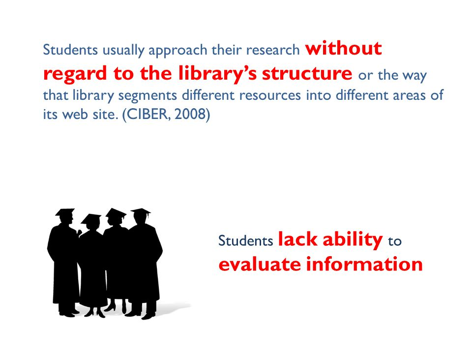Students usually approach their research without regard to the library's structure or the way that library segments different resources into different
