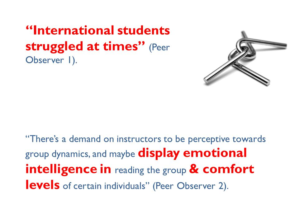"""""""International students struggled at times"""" (Peer Observer 1). """"There's a demand on instructors to be perceptive towards group dynamics, and maybe dis"""