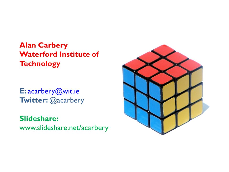 Alan Carbery Waterford Institute of Technology E: acarbery@wit.ieacarbery@wit.ie Twitter: @acarbery Slideshare: www.slideshare.net/acarbery