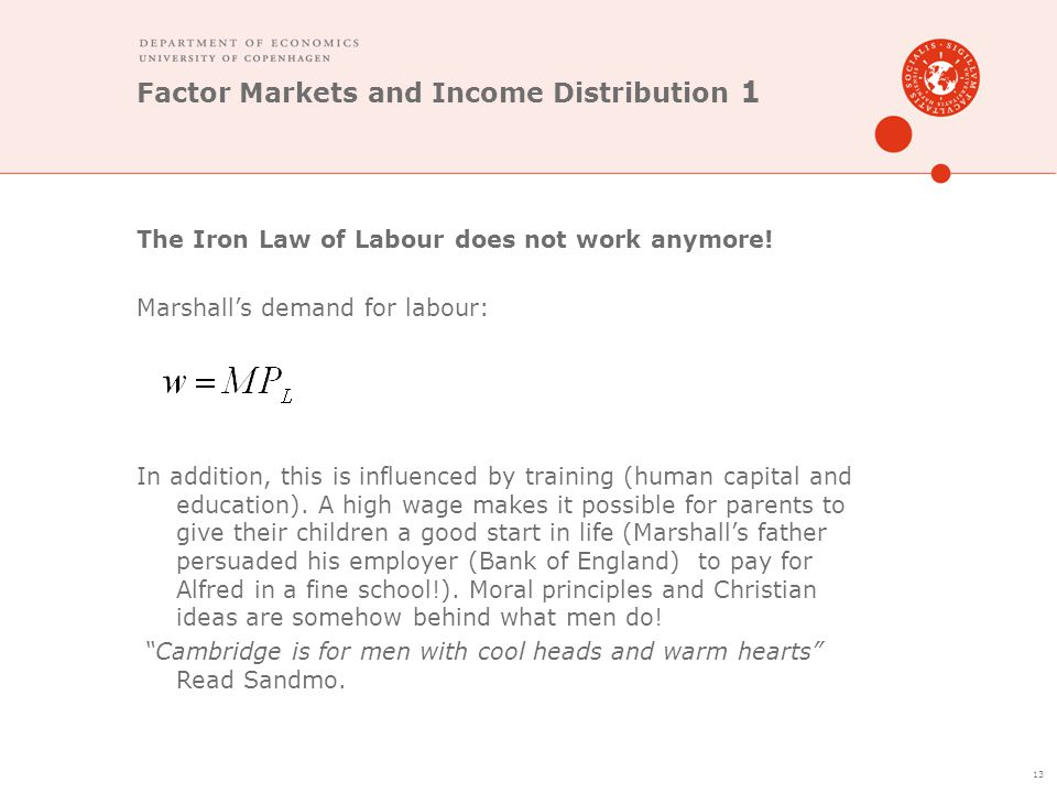 Factor Markets and Income Distribution 1 The Iron Law of Labour does not work anymore! Marshall's demand for labour: In addition, this is influenced b