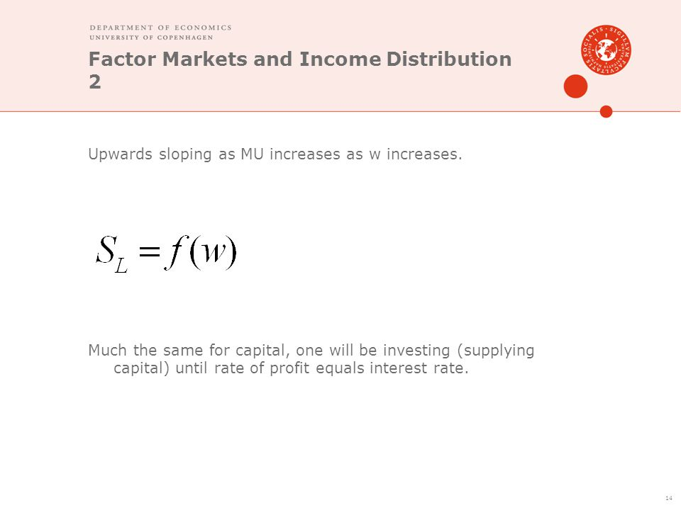 Factor Markets and Income Distribution 2 Upwards sloping as MU increases as w increases. Much the same for capital, one will be investing (supplying c