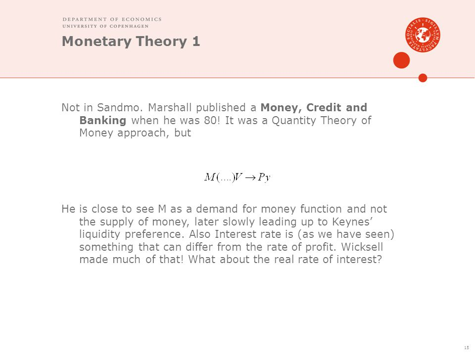 Monetary Theory 1 Not in Sandmo. Marshall published a Money, Credit and Banking when he was 80! It was a Quantity Theory of Money approach, but He is