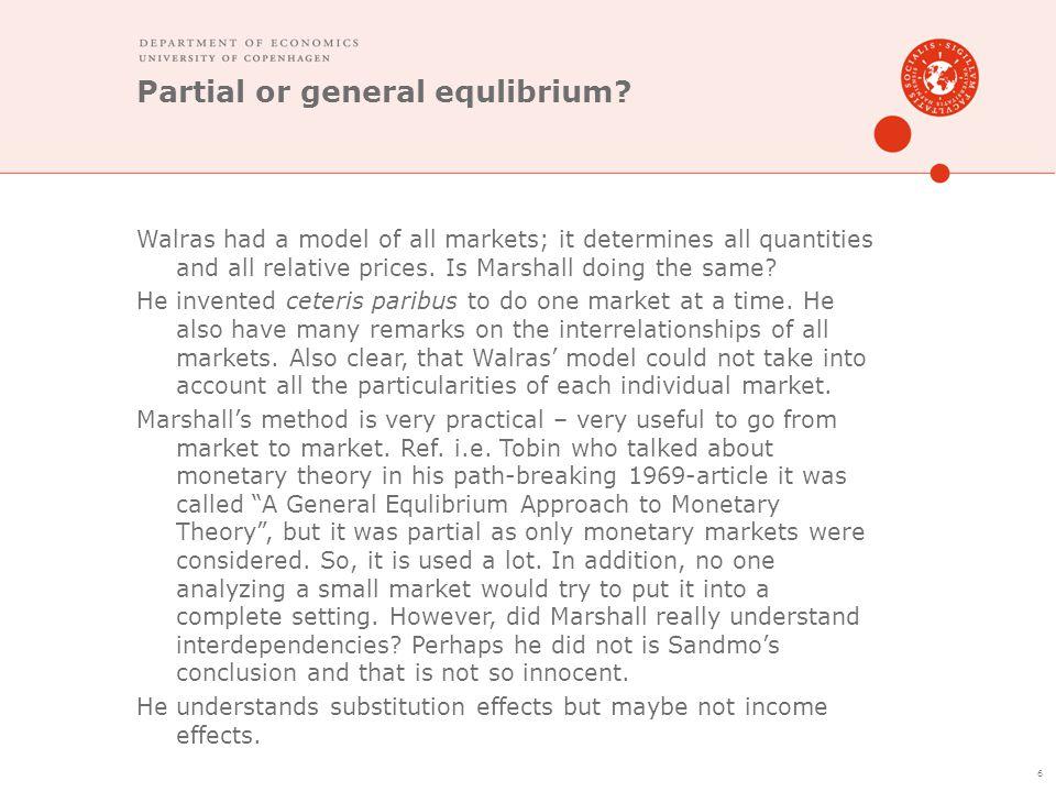 Partial or general equlibrium.