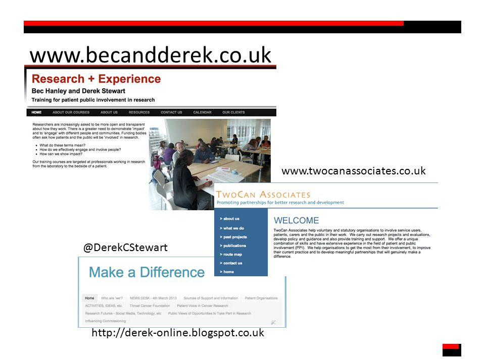 www.becandderek.co.uk @DerekCStewart http://derek-online.blogspot.co.uk www.twocanassociates.co.uk