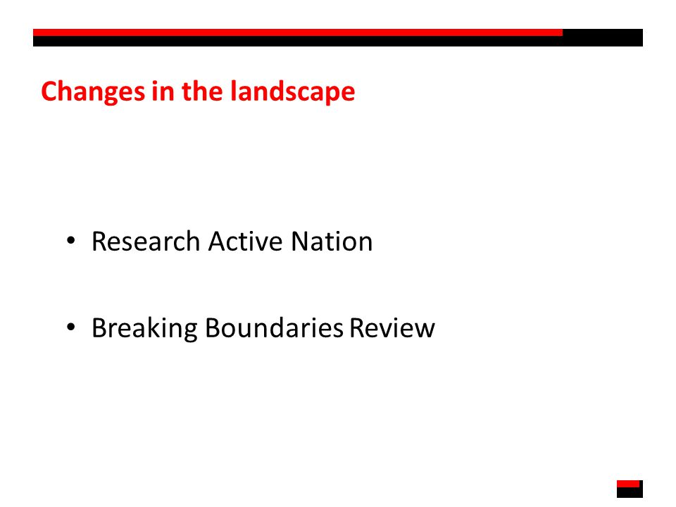 Changes in the landscape Research Active Nation Breaking Boundaries Review