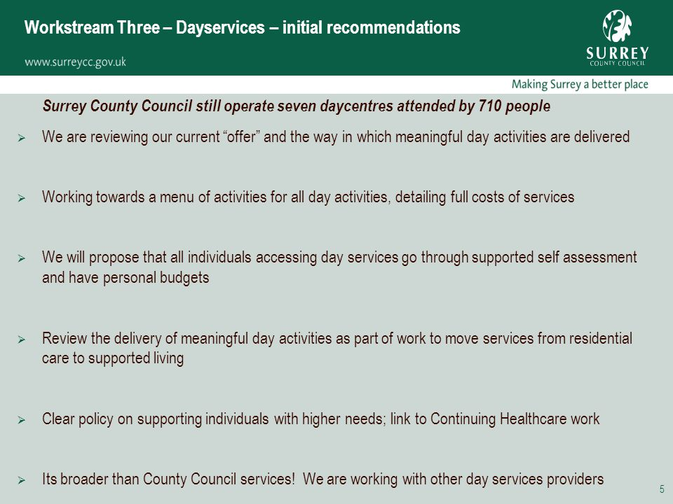 5 Workstream Three – Dayservices – initial recommendations Surrey County Council still operate seven daycentres attended by 710 people  We are reviewing our current offer and the way in which meaningful day activities are delivered  Working towards a menu of activities for all day activities, detailing full costs of services  We will propose that all individuals accessing day services go through supported self assessment and have personal budgets  Review the delivery of meaningful day activities as part of work to move services from residential care to supported living  Clear policy on supporting individuals with higher needs; link to Continuing Healthcare work  Its broader than County Council services.