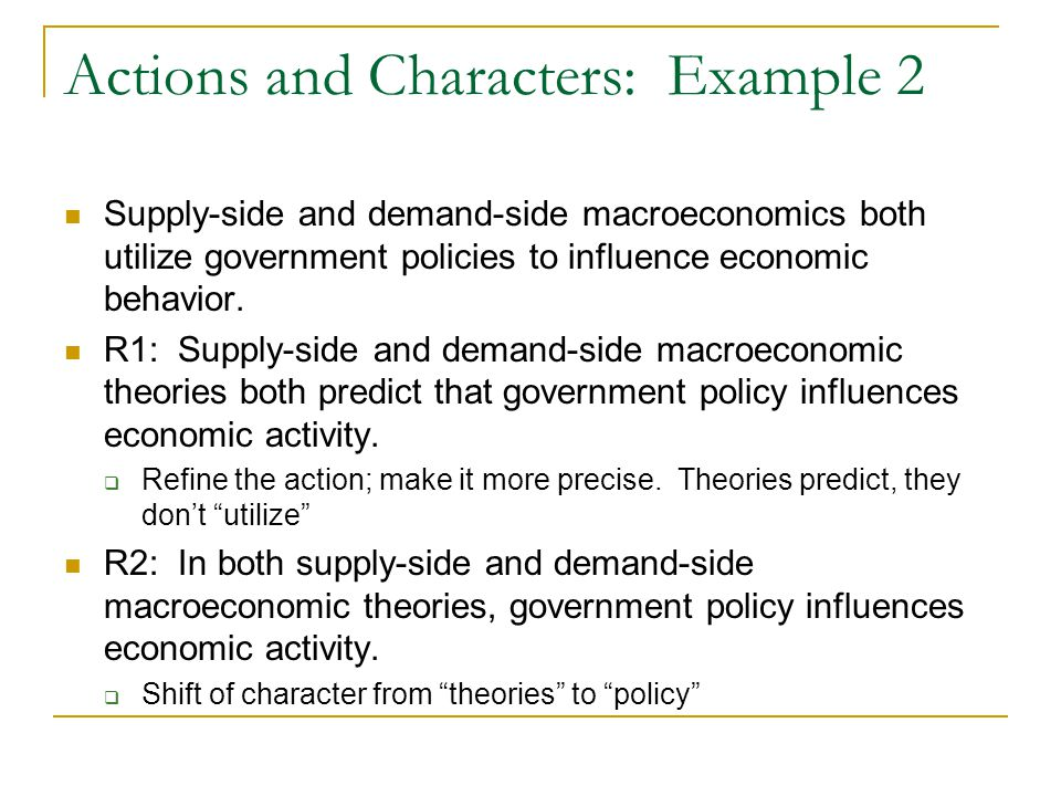 Actions and Characters: Example 2 Supply-side and demand-side macroeconomics both utilize government policies to influence economic behavior.