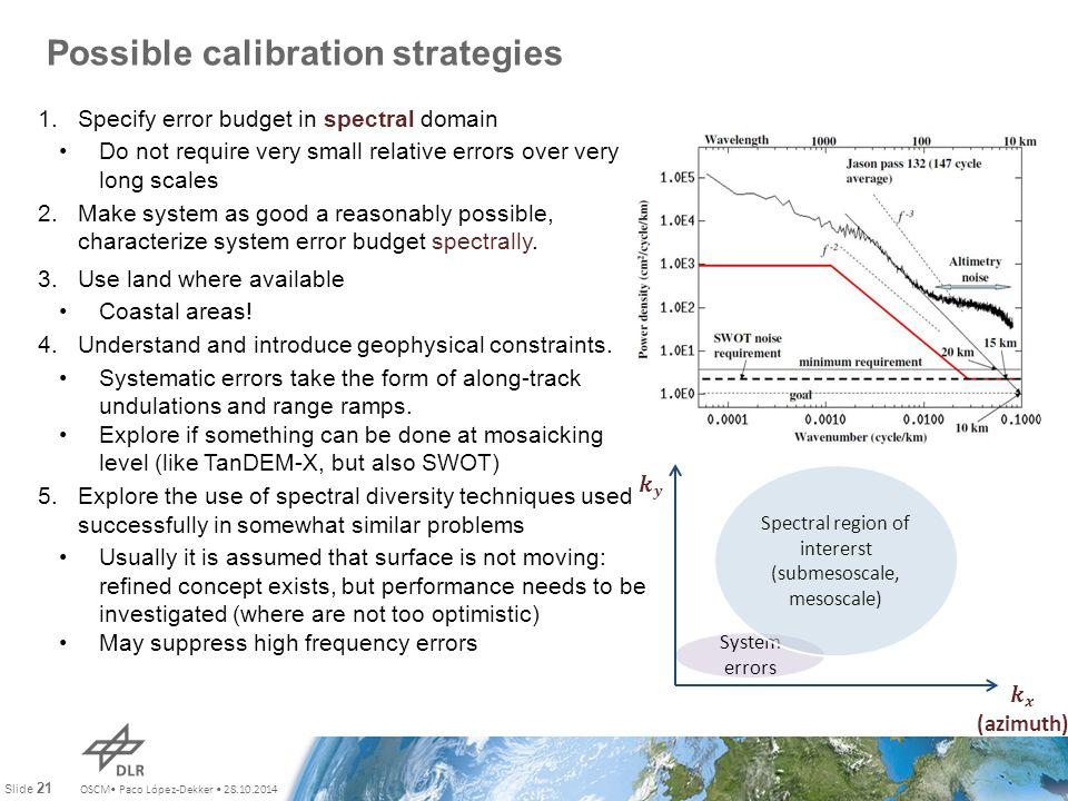 OSCM Paco López-Dekker 28.10.2014 Slide 21 Possible calibration strategies 1.Specify error budget in spectral domain Do not require very small relativ