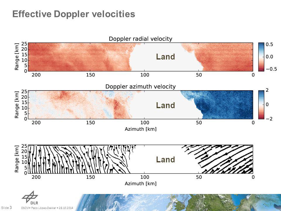 OSCM Paco López-Dekker 28.10.2014 Slide 3 Effective Doppler velocities Land