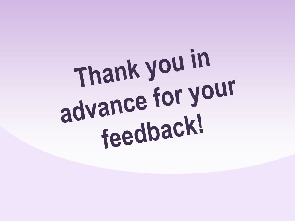 Thank you in advance for your feedback!